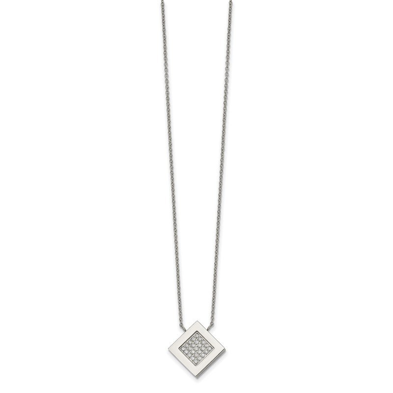 Chisel Stainless Steel Polished Diamond Shape CZ 17 inch w/2.75 inch ext Necklace