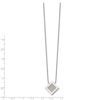 Stainless Steel Polished Diamond Shape CZ 17 inch w/2.75 inch ext Necklace