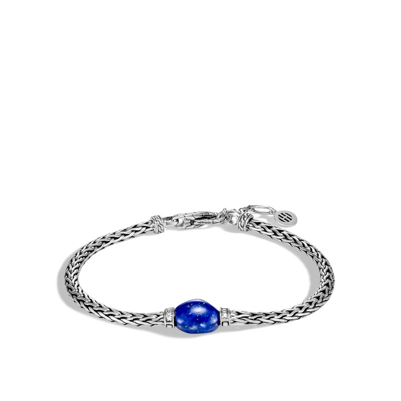 John Hardy Classic Chain Bracelet in Silver with Gemstone and Diamond