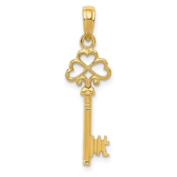 14K Polished 3-D Hearts Key Charm