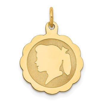 14k Girl Head on .018 Gauge Engravable Scalloped Disc Charm