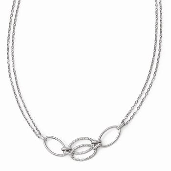 Leslie's 14k White Gold Polished Double Strand Link Necklace