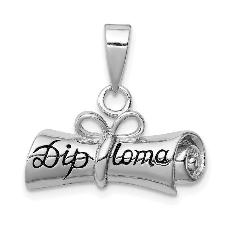 Quality Gold Sterling Silver Rolled-Up Diploma Charm