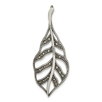 Sterling Silver Antiqued Marcasite Leaf Slide