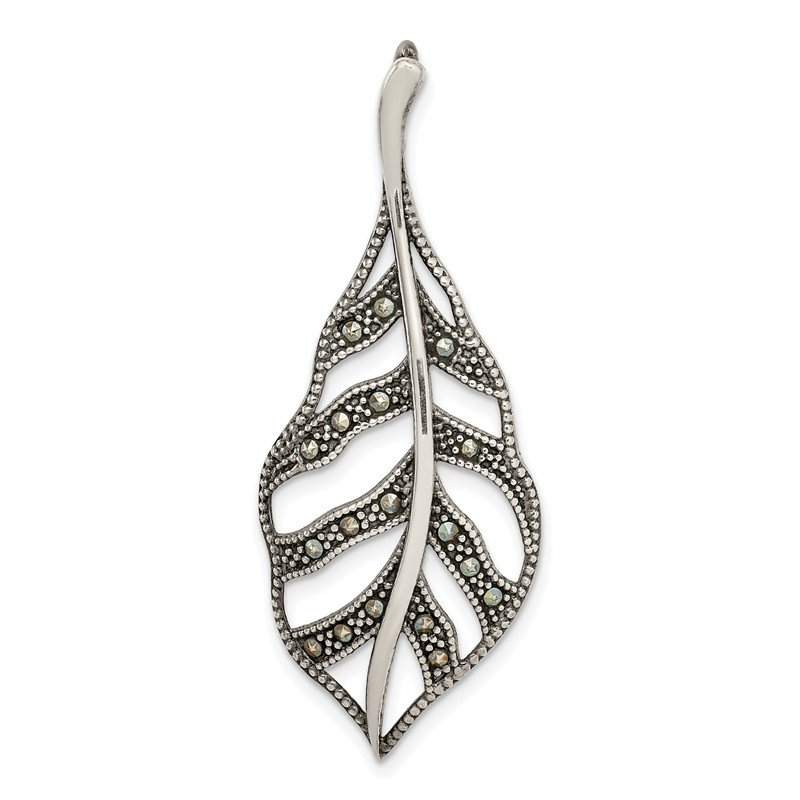 Quality Gold Sterling Silver Antiqued Marcasite Leaf Slide