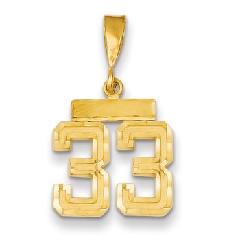14k Small Diamond-cut Number 33 Charm