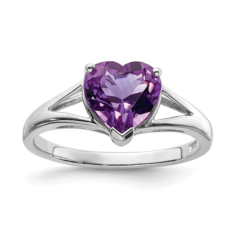 Quality Gold Sterling Silver Rhodium Amethyst Ring
