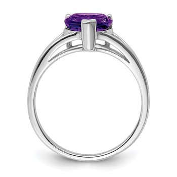 Sterling Silver Rhodium Amethyst Ring
