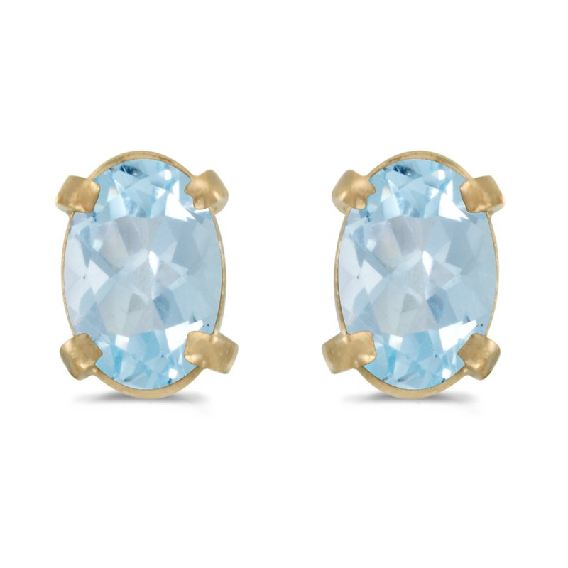 Color Merchants 14k Yellow Gold Oval Aquamarine Earrings