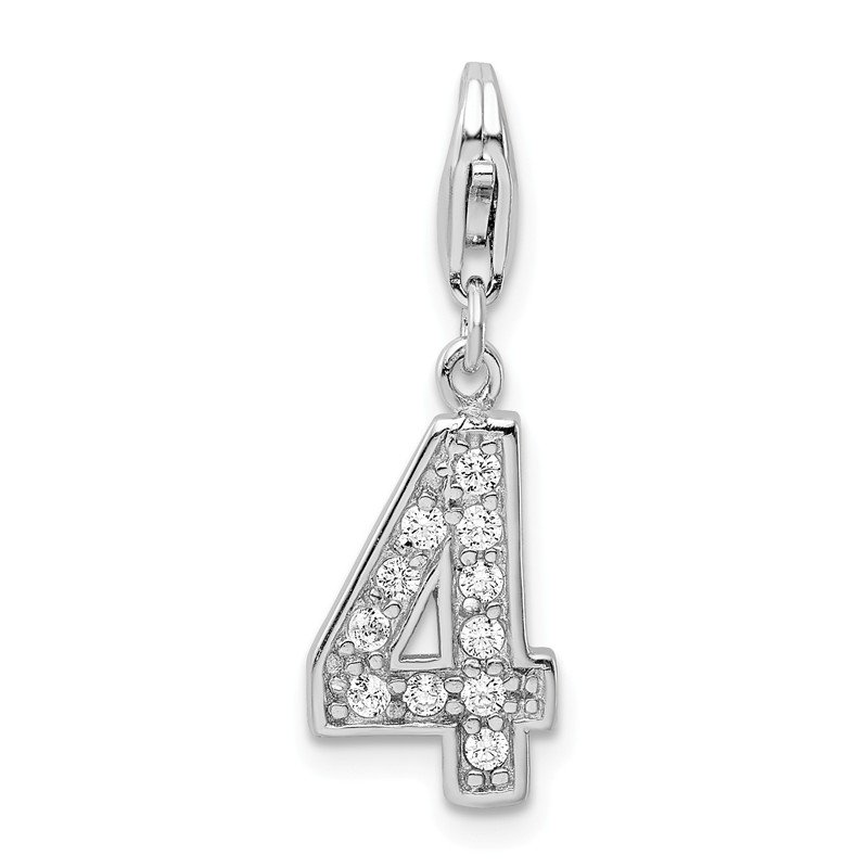 Quality Gold Sterling Silver CZ Numeral 4 w/Lobster Clasp Charm