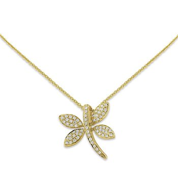 Diamond Dragonfly Necklace in 14k Yellow Gold with 65 Diamonds weighing .20ct tw.