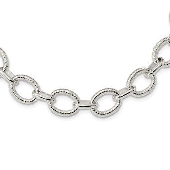 Sterling Silver Polished Fancy Link Necklace