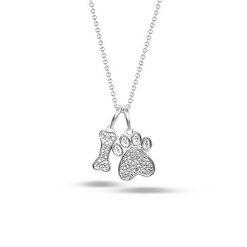 Dog Paw & Bone Diamond Pendant