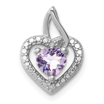 Sterling Silver Rhodium-plated Pink Quartz Diamond Pendant