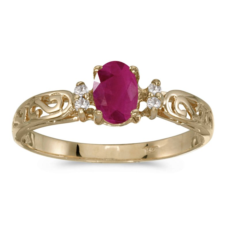 Color Merchants 14k Yellow Gold Oval Ruby And Diamond Filagree Ring