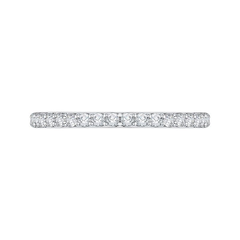 Round Diamond Half-Eternity Wedding Band with Euro Shank In 18K White Gold
