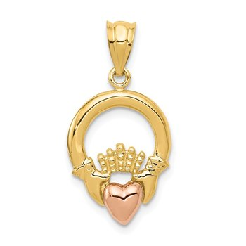 14k Two-tone Claddagh Pendant