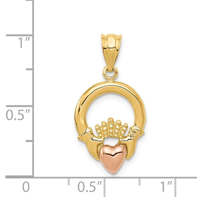 Quality Gold 14k Two-tone Claddagh Pendant