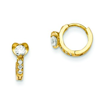 14k Madi K CZ Children's Heart Hinged Hoop Earrings