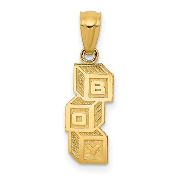 14k B O Y Building Blocks Pendant