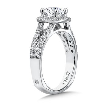 Round Halo Engagement Ring with Split Shank and Diamond Side Stones in 14K White Gold with Platinum Head (1ct. tw.)