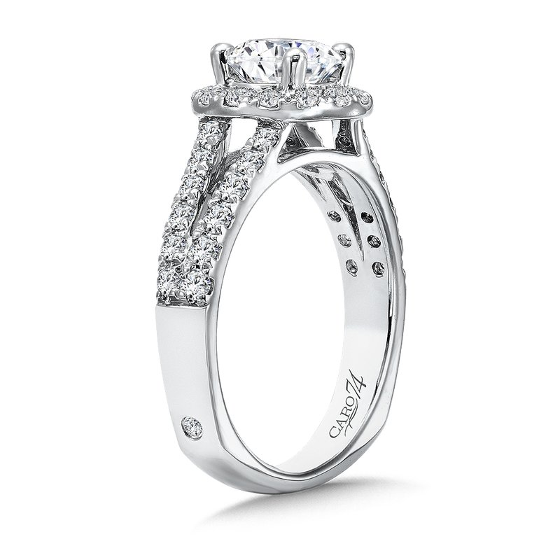 Caro74 Round Halo Engagement Ring with Split Shank and Diamond Side Stones in 14K White Gold with Platinum Head (1ct. tw.)