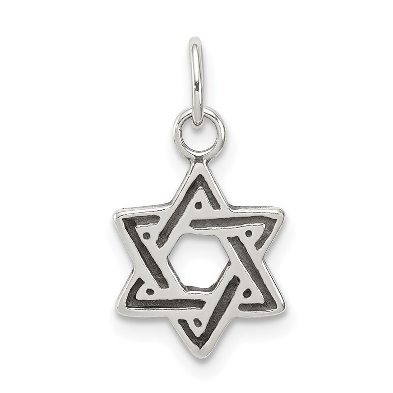 Quality Gold Sterling Silver Antiqued Star of David Charm