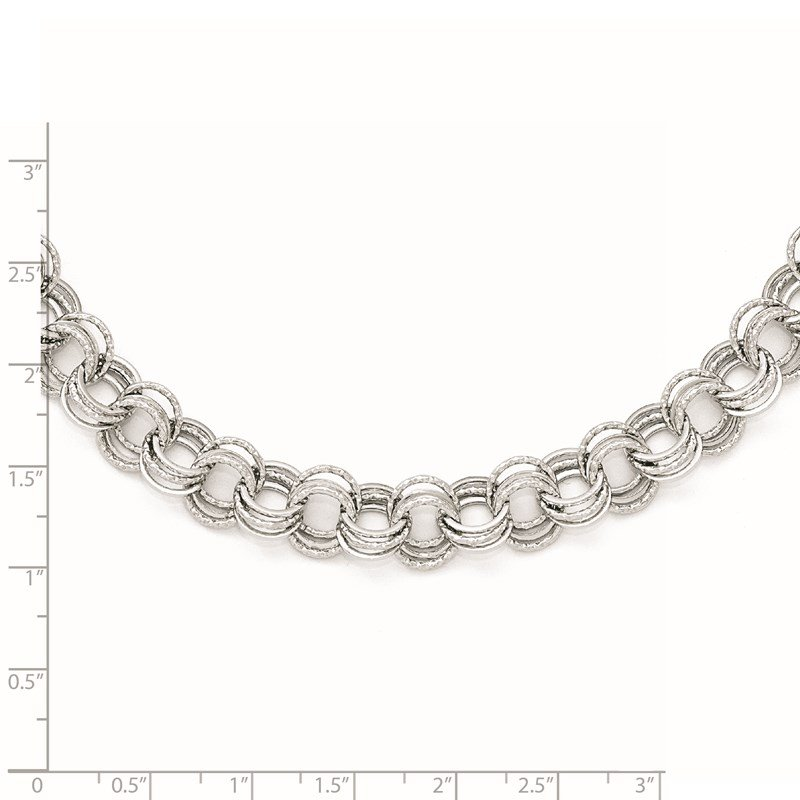 Leslie's Leslie's 14k White Gold Polished Textured Fancy Link Necklace