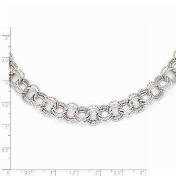 Leslie's 14k White Gold Polished Textured Fancy Link Necklace