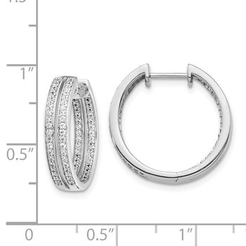 14k White Gold Diamond In/Out Hinged Hoop Earrings