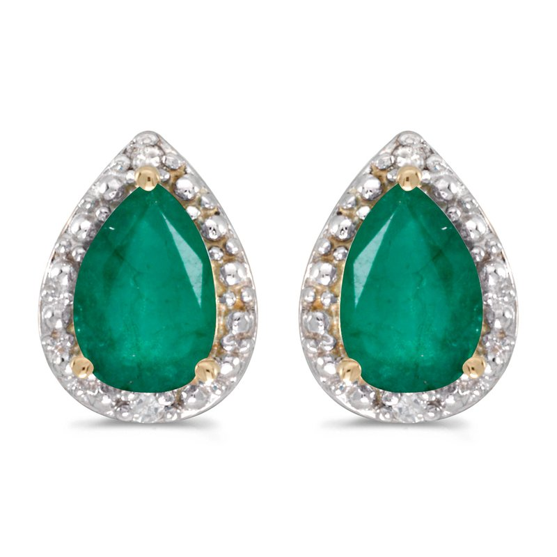 Color Merchants 10k Yellow Gold Pear Emerald And Diamond Earrings