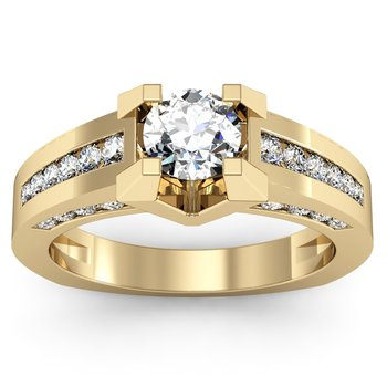 Round Diamond Engagement Ring with Channel set Diamonds
