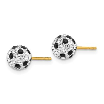 14k Black and White Crystal 6mm Post Earrings