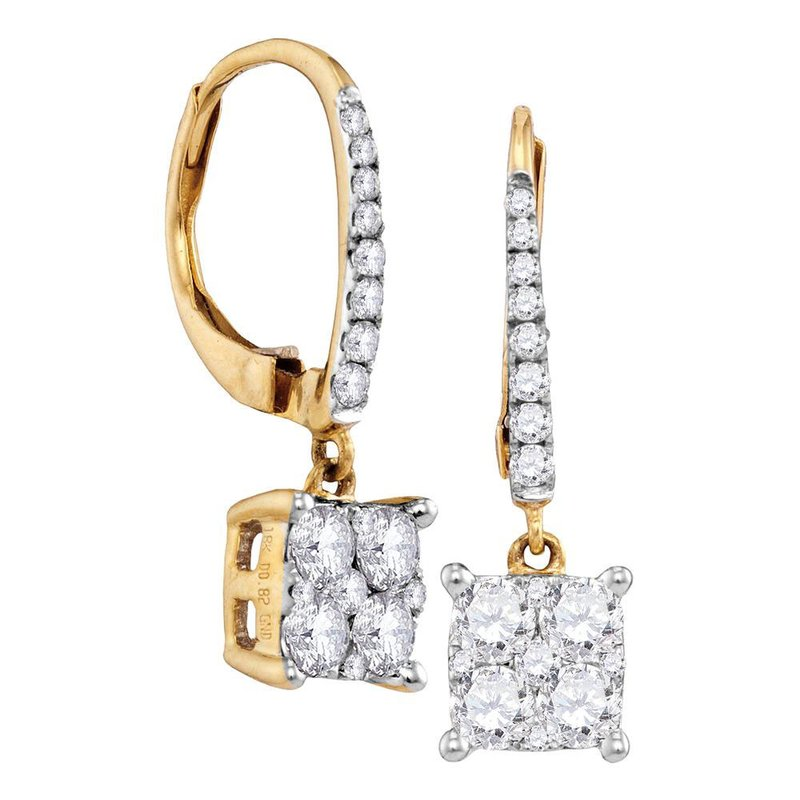 Gold-N-Diamonds, Inc. (Atlanta) 18K Yellow Gold Round Cluster Diamond Womens Square-shape Dangle Hoop Earrings 7/8 Cttw