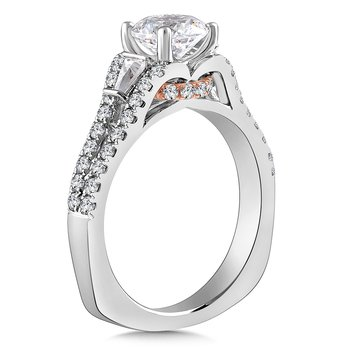 Diamond Engagement Ring Mounting in 14K White/Rose Gold with Platinum Head (1/2 ct. tw.)