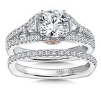 Caro74 Diamond Engagement Ring Mounting in 14K White/Rose Gold with Platinum Head (1/2 ct. tw.)