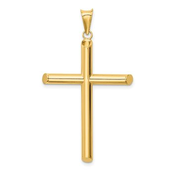 14k Polished Tube Cross Pendant