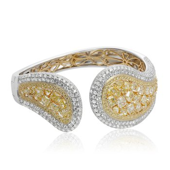 White & Yellow Diamond Cluster Bangle