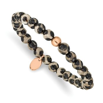Stainless Steel Polished Rose IP Black and White Agate Stretch Bracelet