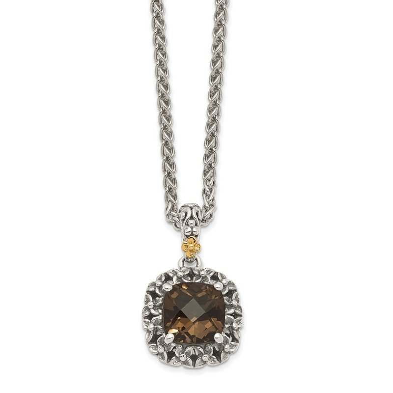 Quality Gold Sterling Silver w/ 14k Polished Smoky Quartz Necklace