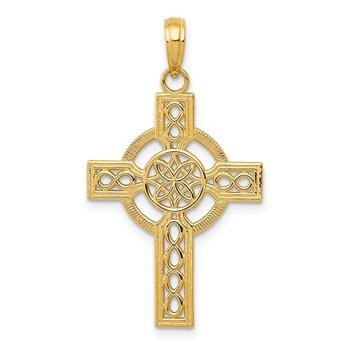 14k Diamond-cut Celtic Cross Pendant