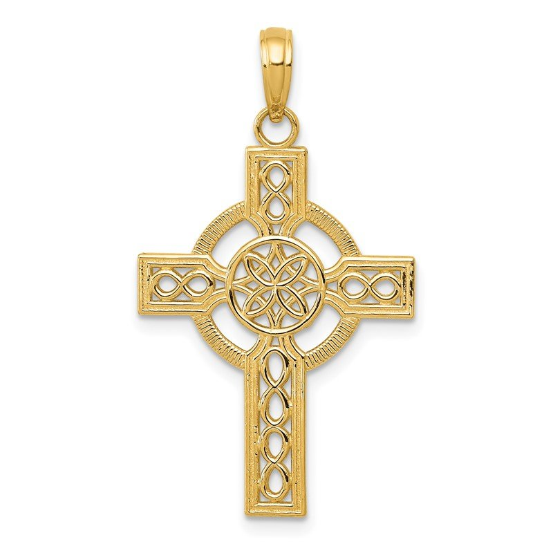 Quality Gold 14k Diamond-cut Celtic Cross Pendant