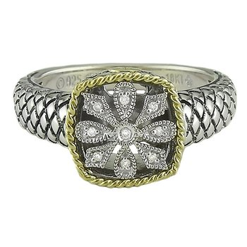 18kt and Sterling Silver Cushion Antique Flower Diamond Ring