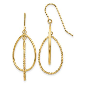 14k Polished and Textured Ovals Dangle Earrings