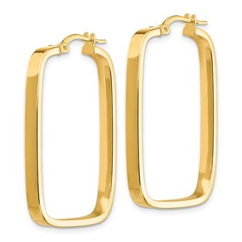 14K 2x2mm Square Hoop Rectangle Earrings