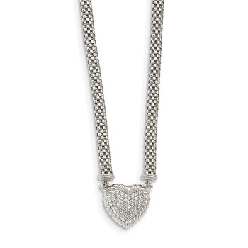 Sterling Silver White Sapphire Heart Mesh Link Necklace