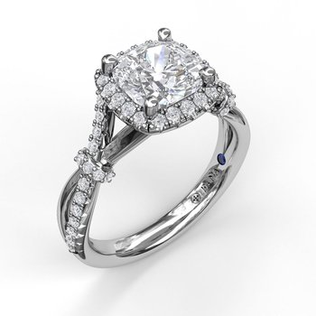 Cushion Halo Engagement Ring with a Interwoven Band