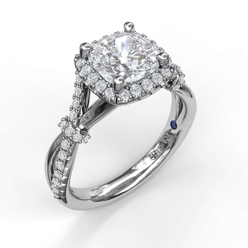 Fana Cushion Halo Engagement Ring with a Interwoven Band
