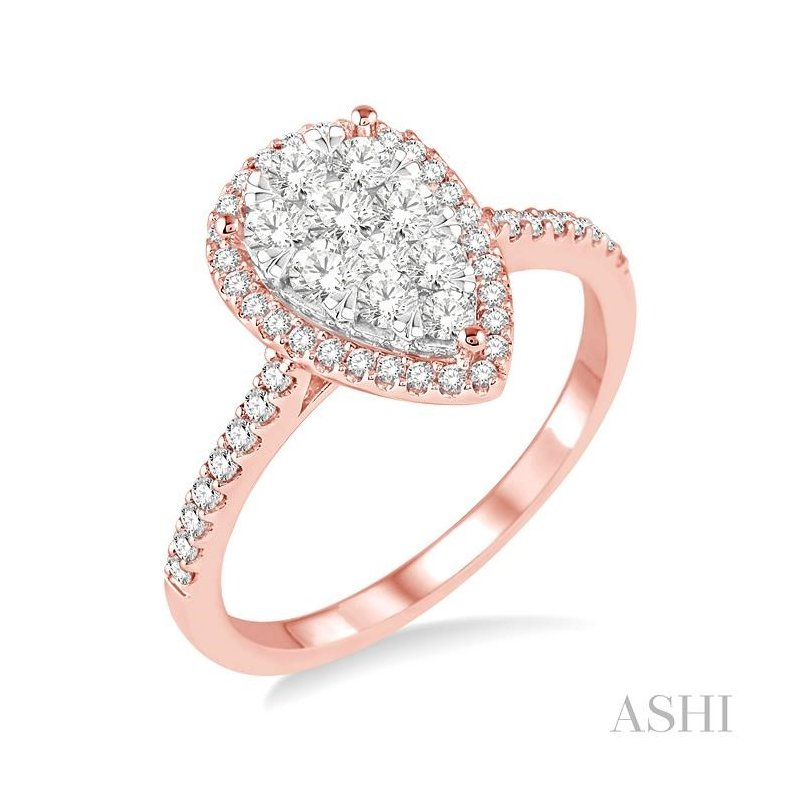 ASHI pear shape lovebright bridal diamond ring
