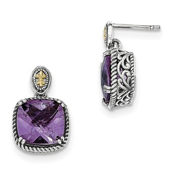 Sterling Silver w/14k Amethyst Dangle Post Earrings